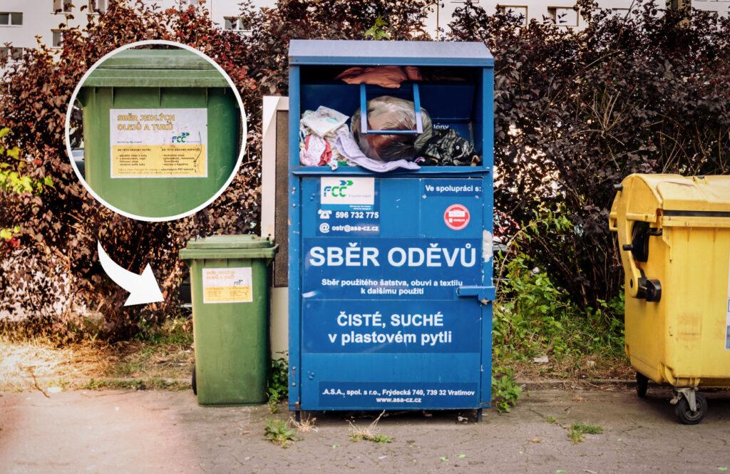 Zelené kontejnery na použité potravinářské oleje a tuky