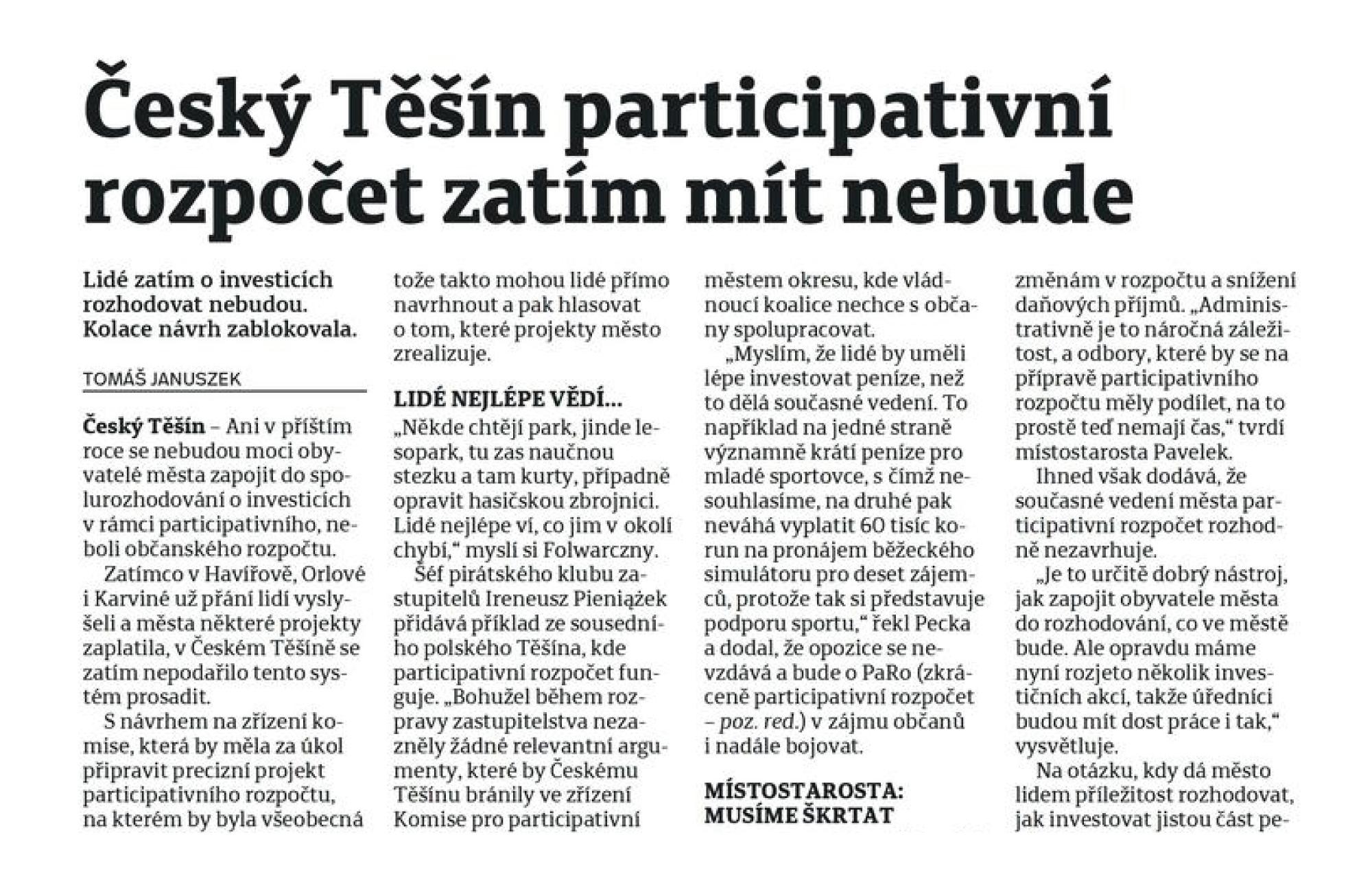 Napsali o nás: Český Těšín  participativní rozpočet zatím mít nebude