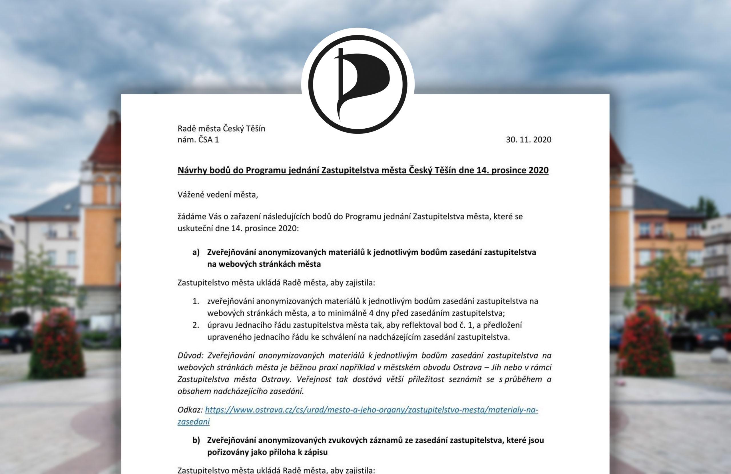 Těšínští Piráti usilují o transparentní a otevřenou radnici, chtějí zveřejňovat materiály a záznamy ze zastupitelstva