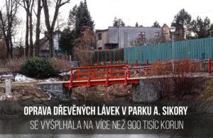 Oprava dřevěných lávek v Parku A. Sikory se vyšplhala na více než 900 tisíc korun